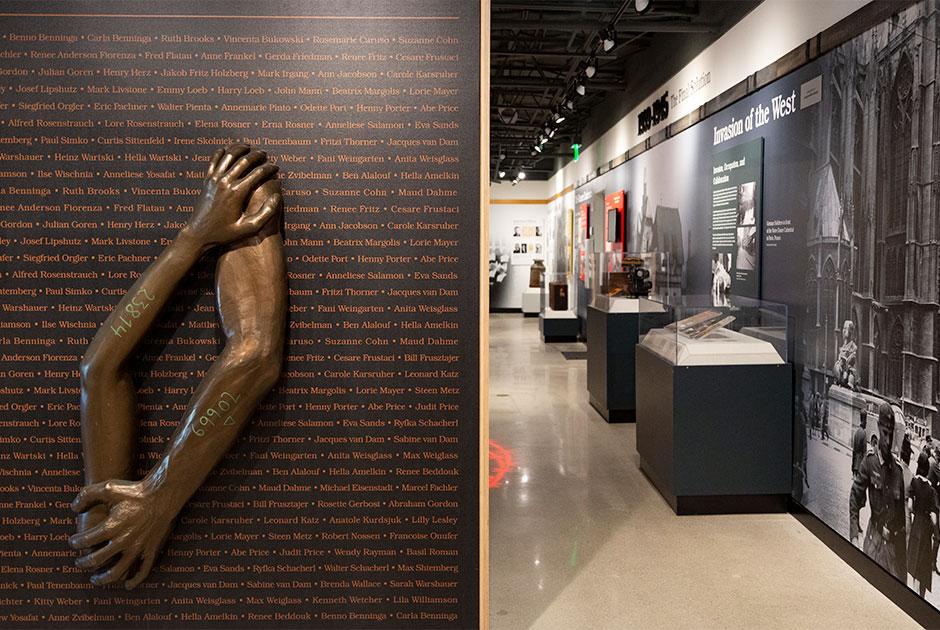 Closeup of exhibit looking into gallery.