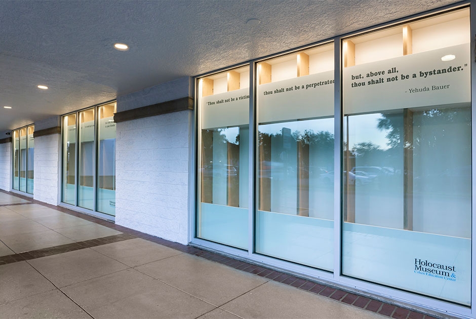 View of exterior storefront showing the other side of sunscreen at the Holocaust Museum & Education Center of Southwest Florida
