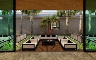 Rendering of outdoor seating areas.
