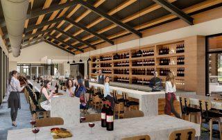 Rendering inside public wine bar.