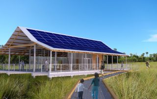 Interpretive Pavilion with rooftop solar panel array.