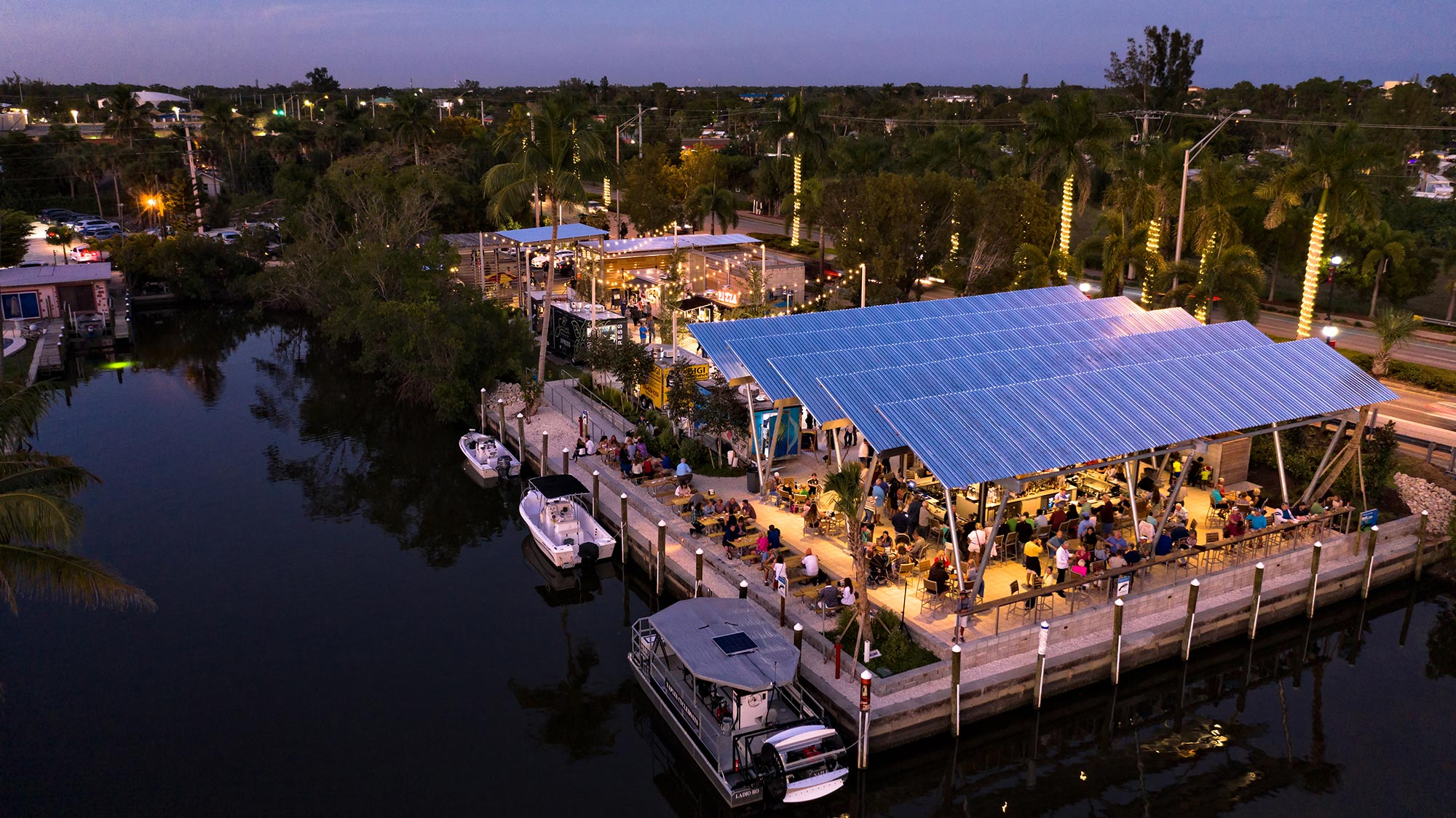 Drone photo of tiki bar and food truck park.