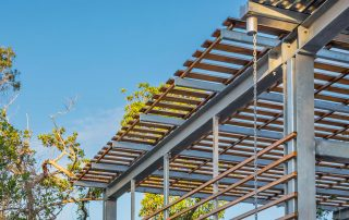 Detail of steel and wood roof design.