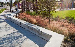 Rain garden with undulating concrete bench along sidewalk.