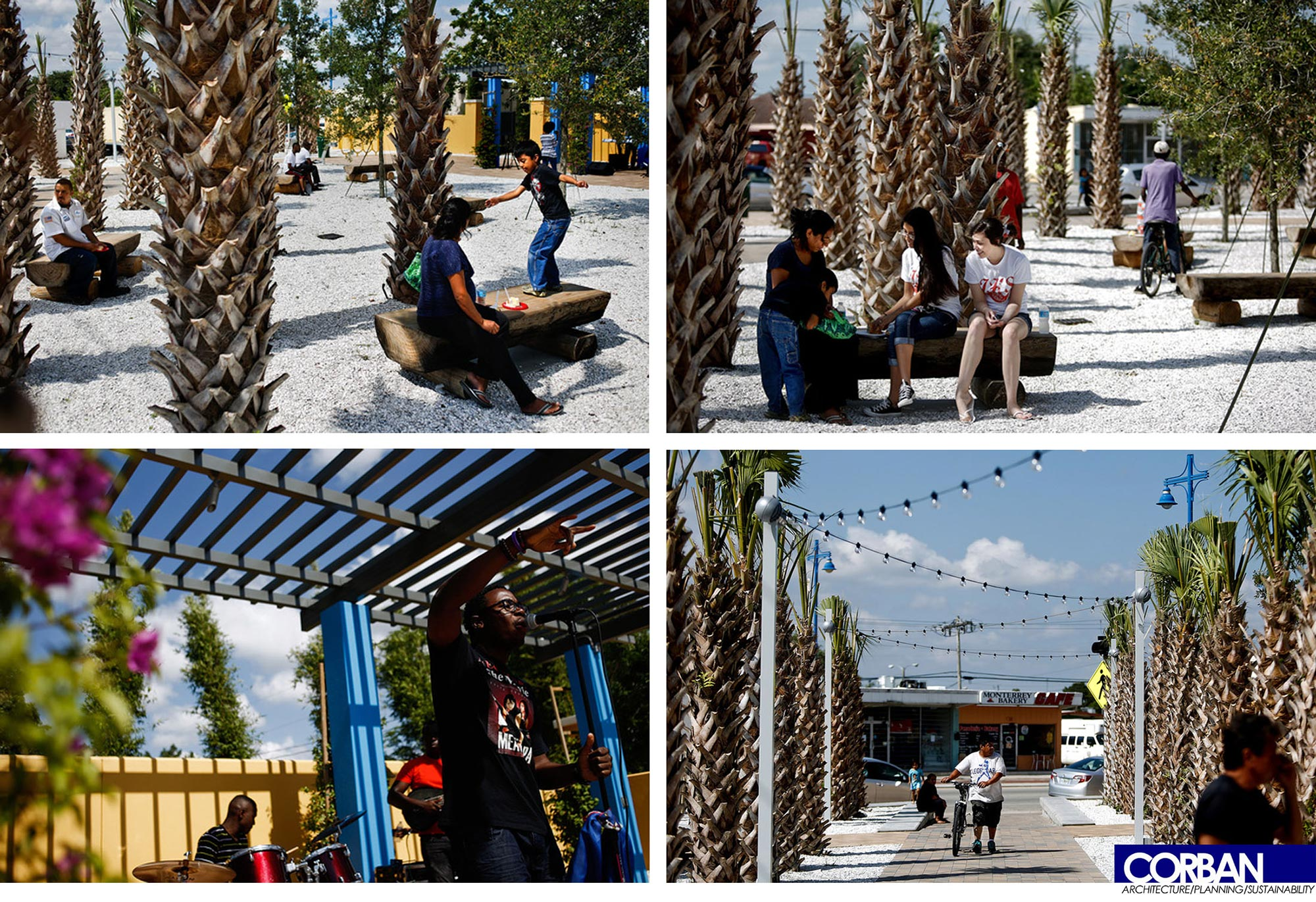 Locals using the different spaces in the park.