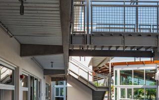 Bridge connection between buildings.