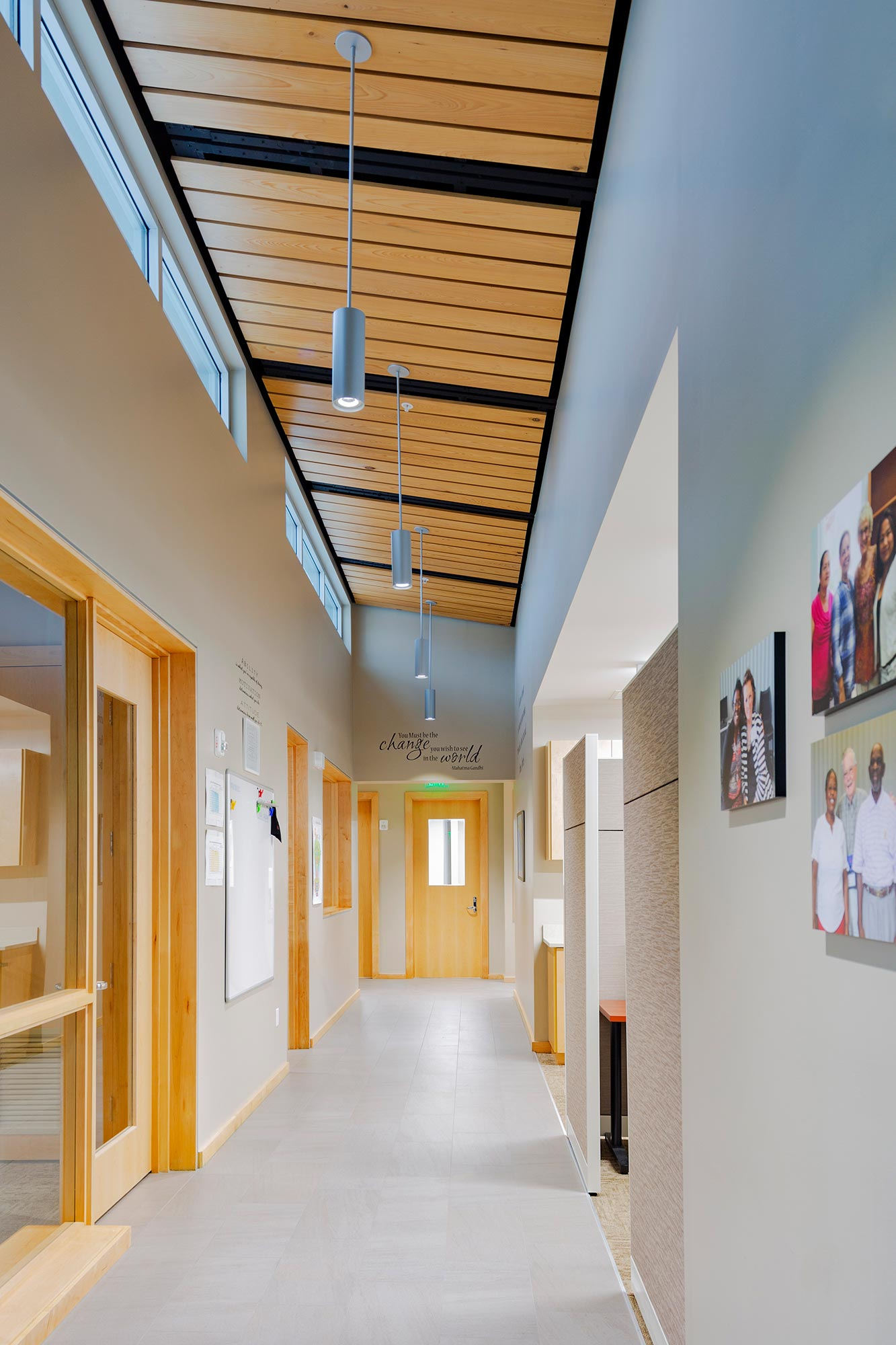Clerestory windows in hallway of family resource center.