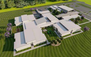 Aerial rendering of campus.
