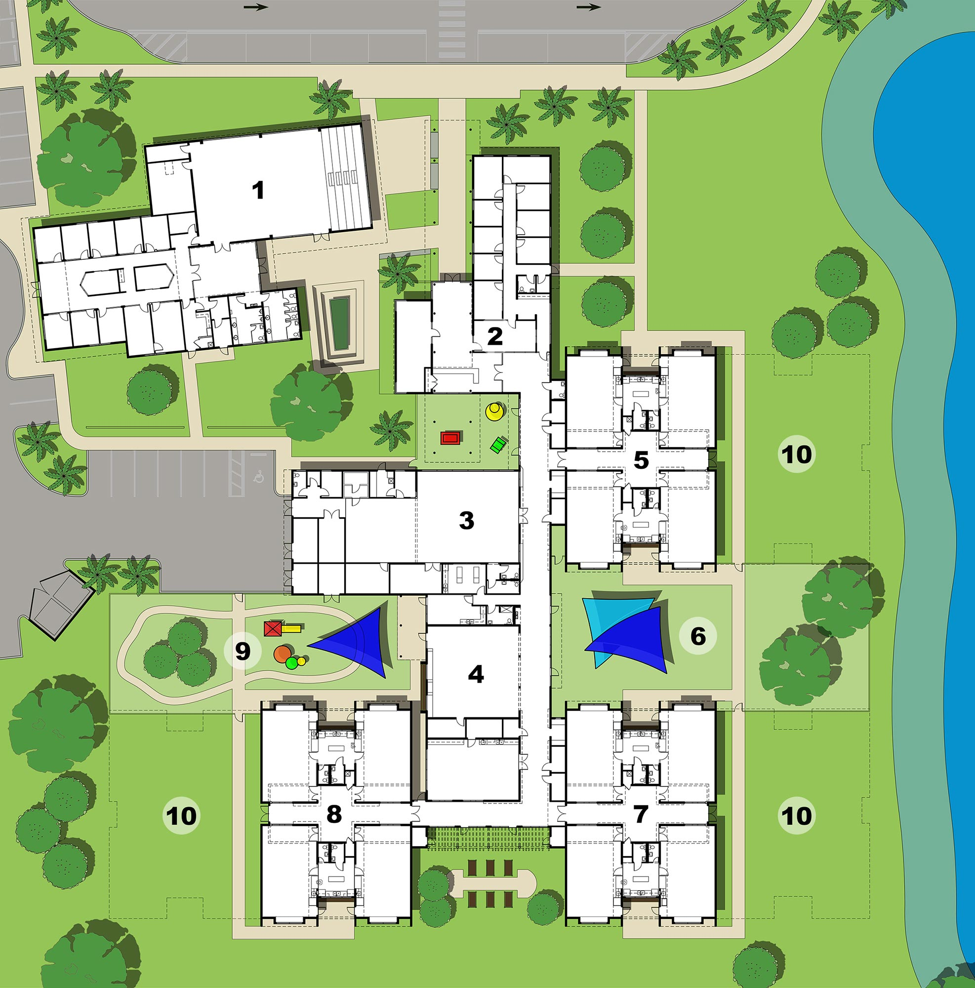 Site plan of campus showing all buildings and how they relate