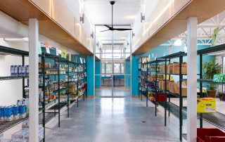 Central food pantry with clerestory windows.