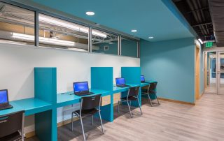 Individual workstations for clients.