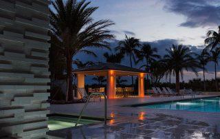 Pool pavilion at dusk.
