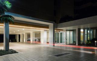 Renovated entry at night.