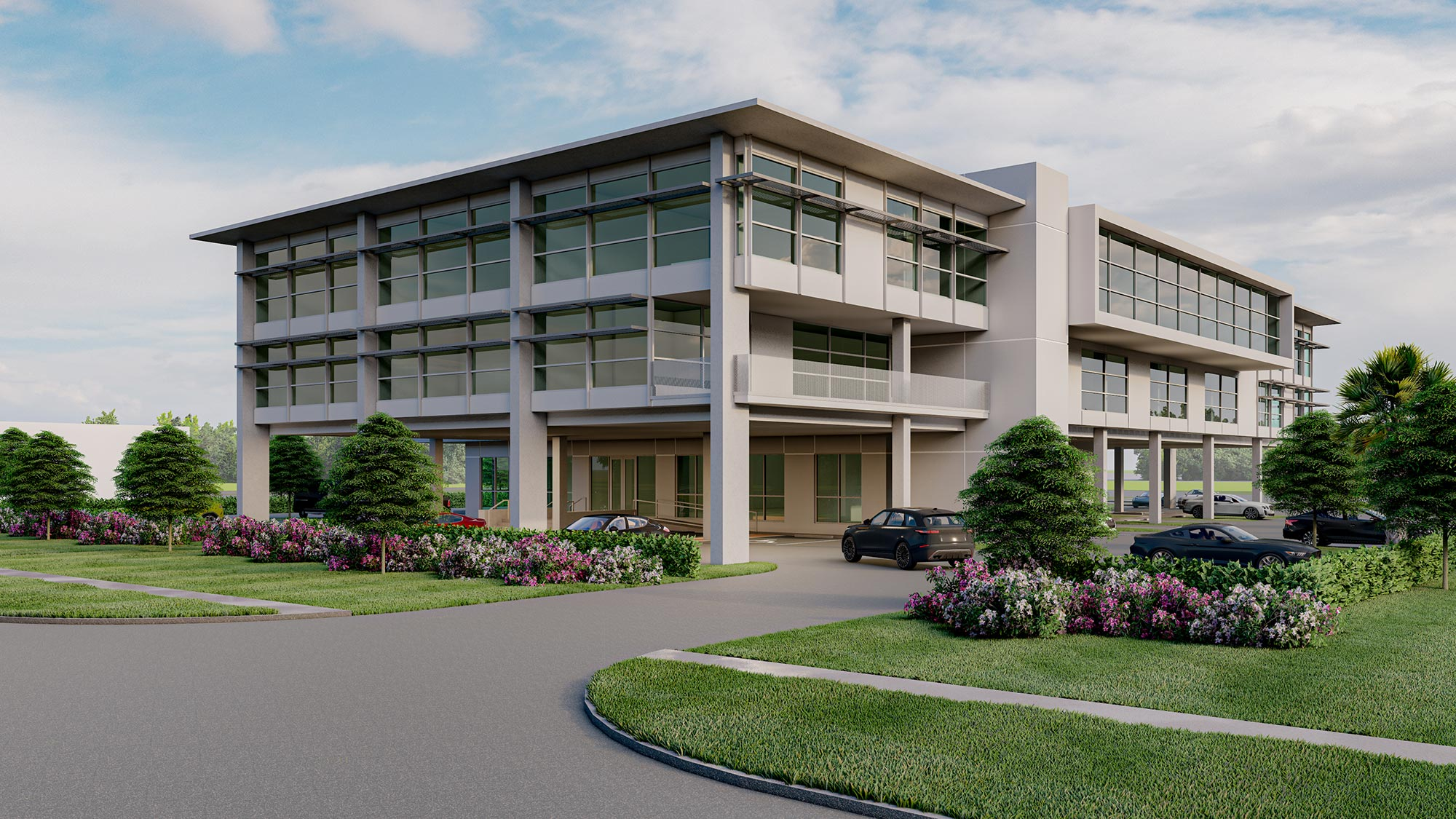 Rendering of building during the day from southwest corner.