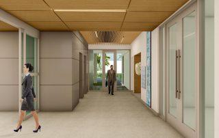 Rendering of elevator lobby.