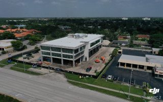 Drone photo of building under construction.
