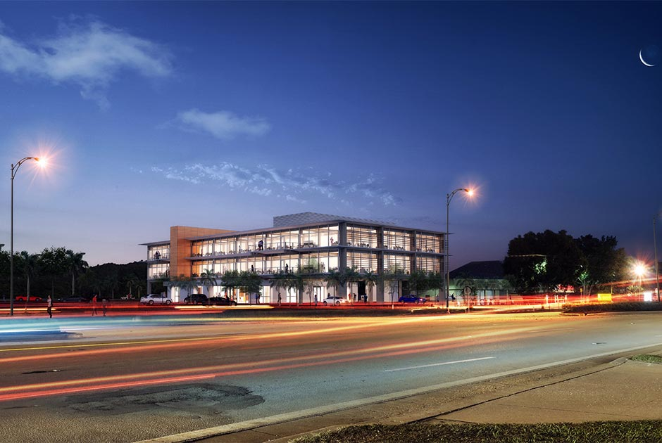 Rendering of building at dusk from across the street