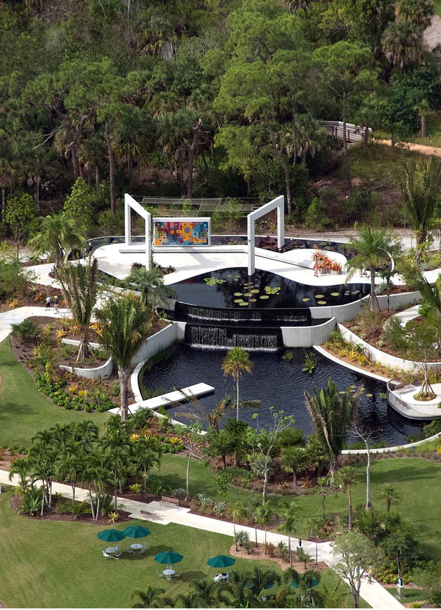 Aerial view of Brazilian garden.
