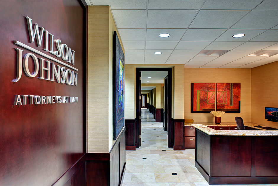 Renovated lobby with new reception desk and finishes