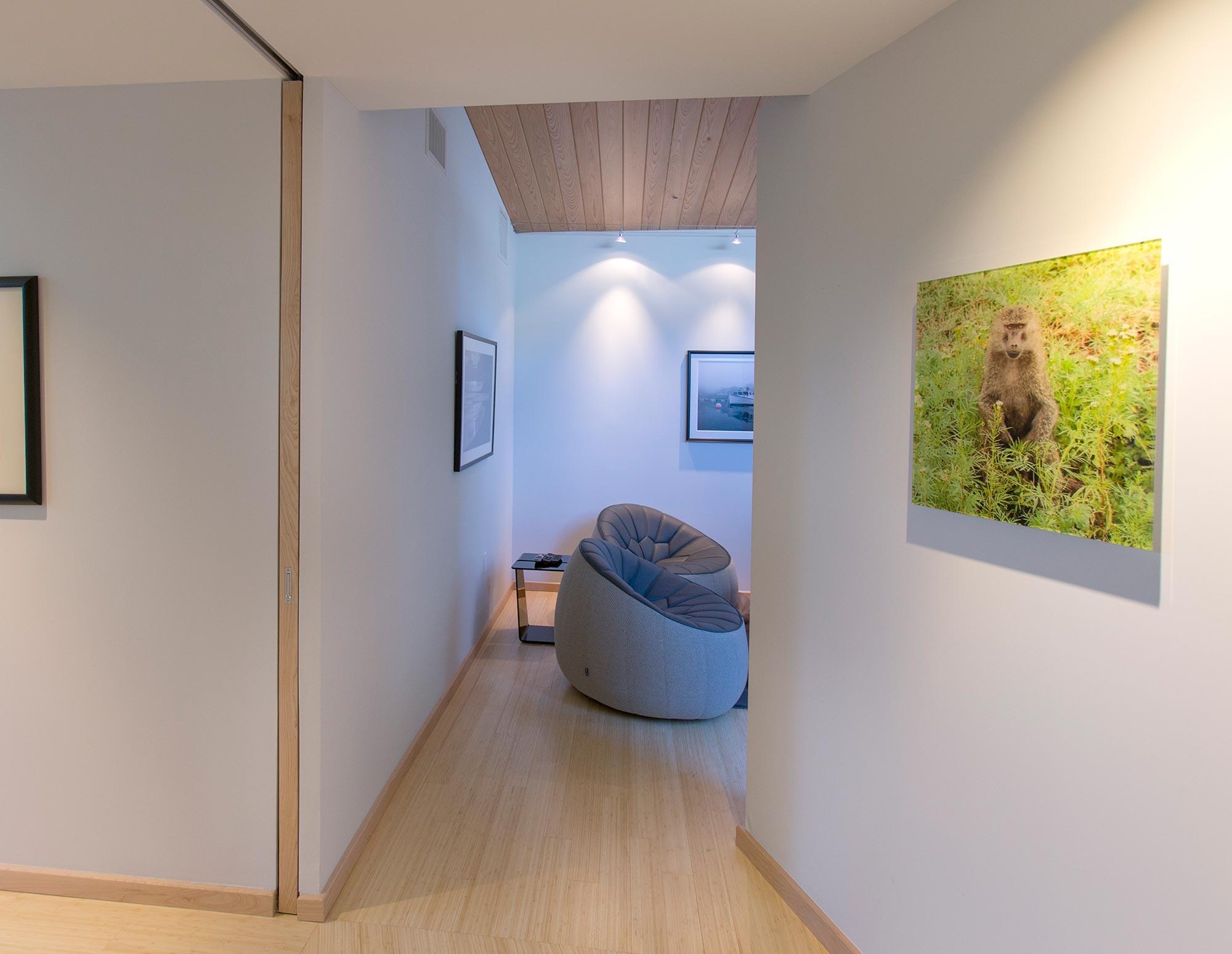 View through hallway with custom pocket door.