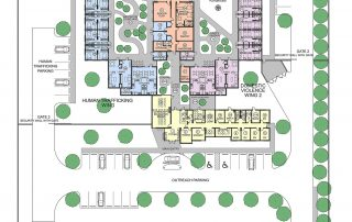 Colored site plan showing how the buildings interact.