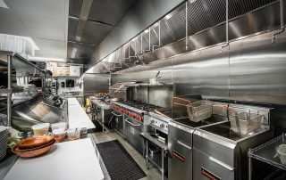 Stainless steel commercial kitchen equipment.