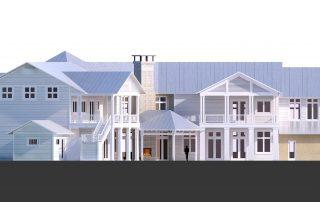 Digital 3d model view of rear facade.