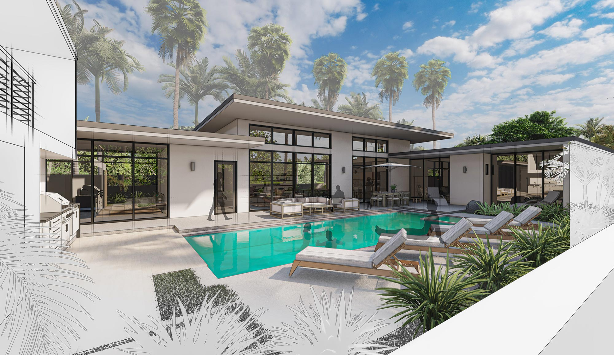 Concept rendering of pool deck with home beyond.