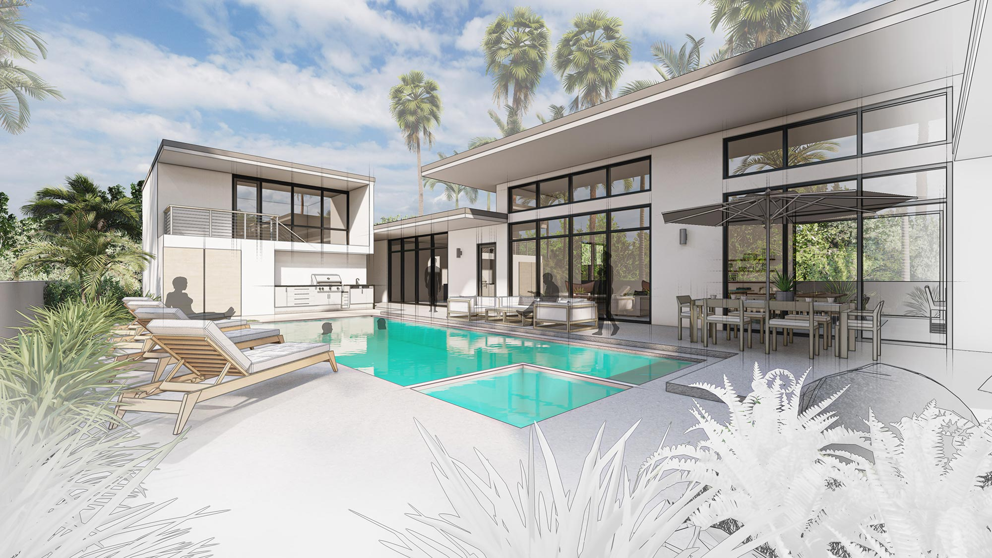 Rendering of pool deck with home beyond.