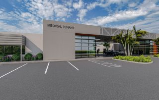 Rendering of main entry to medical suite.